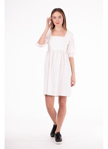 Stamina  Bayan Arkası Bağcıklı Turvakar Kol Elbise-5EL06 Beyaz